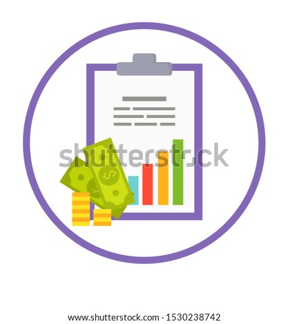 Profit logotype with statistical chart and money. profitable business round emblem. banknotes coins on promo financial logo raster illustration in circle