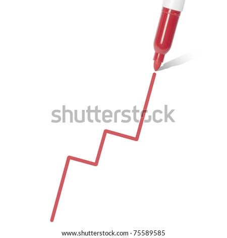 Profit Projection. Marker pen draws a graph. stock price/profit concept. Isolated on white.