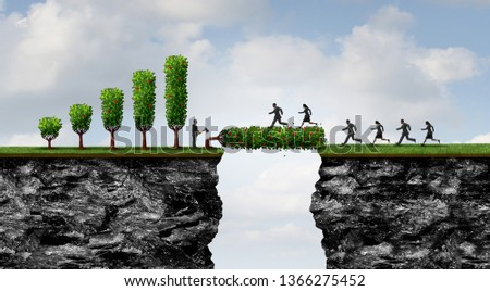 Profit sharing concept and business altruism as a businessman donating profits and opening economic opportunity to people by bridging the gap with 3D illustration elements.