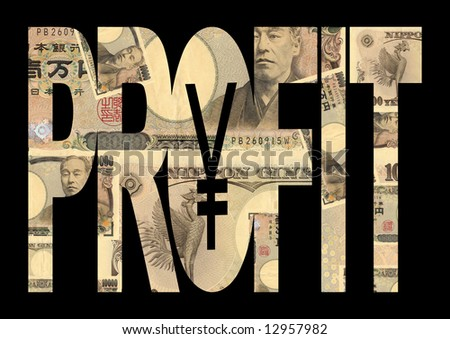Profit text outline with Japanese Yen background
