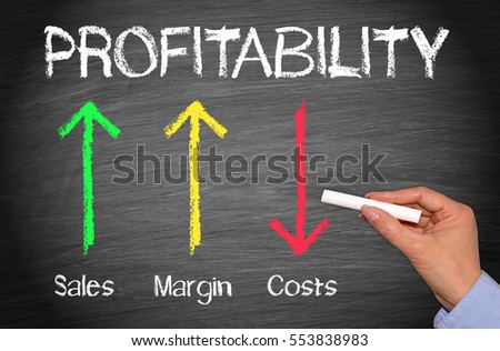 Profitability Business Concept Chalkboard - female hand with chalk and arrows with text #553838983