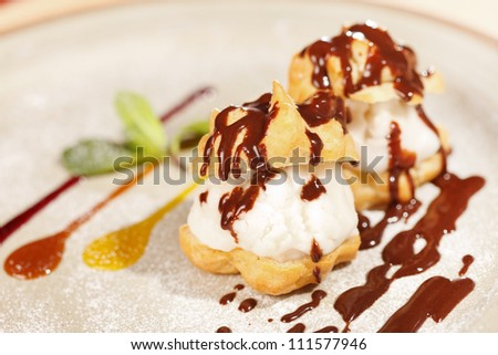 profiteroles with ice cream