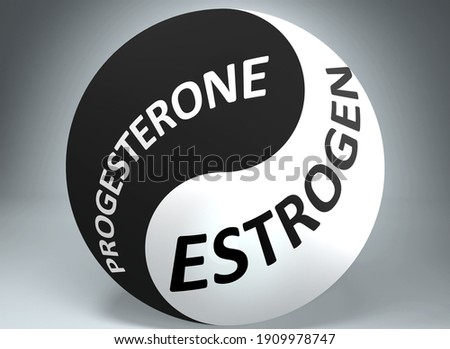 Progesterone and estrogen in balance - pictured as words Progesterone, estrogen and yin yang symbol, to show harmony between Progesterone and estrogen, 3d illustration Foto d'archivio ©