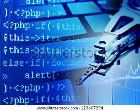 Program code and hard disk. Computer background.