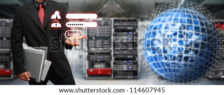 Programmer activated user password for security in data center room : Elements of this image furnished by NASA