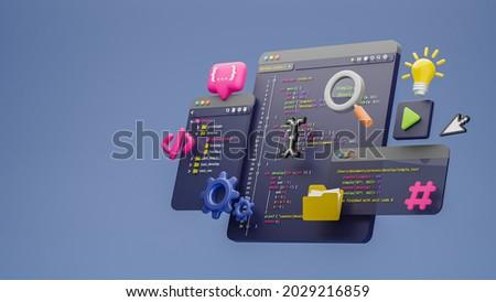 Programmer developer typing script source languages coding symbols  icon development project data programming software engineering IT technologies computer. 3d rendering.