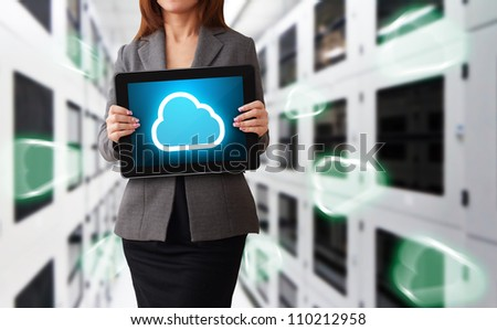 Programmer in data center room and Cloud computing concept