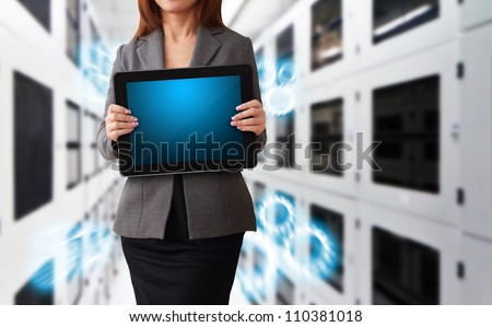 Programmer in data center room and data file system