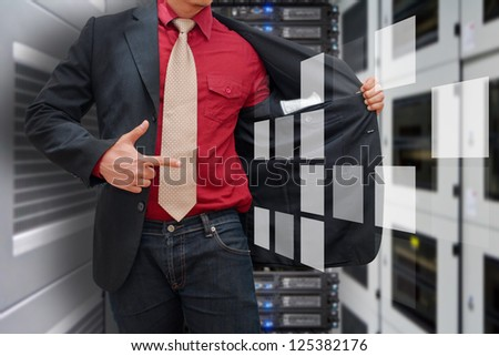 Programmer in data center room and window icon