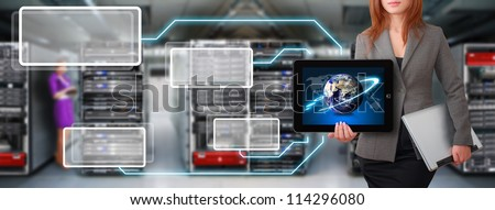 Programmer in data center room show the link to earth : Elements of this image furnished by NASA