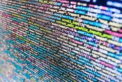 Programmer occupation job. Abstract source code background. Big data database app. Big data database app. Computer code data. Programmer typing new lines of HTML code.