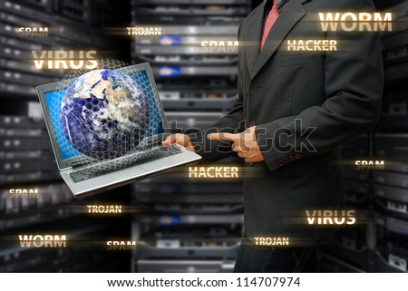 Programmer protect the digital world from all virus and hacker : Elements of this image furnished by NASA
