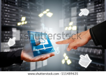 Programmer 's hands in data center room with file system service