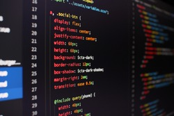 Programmer's text editor showing CSS code on a dark background.