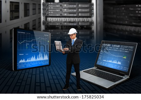 Programmer working with digital laptop