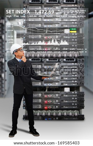 Programmers in data center room and graph report from laptop