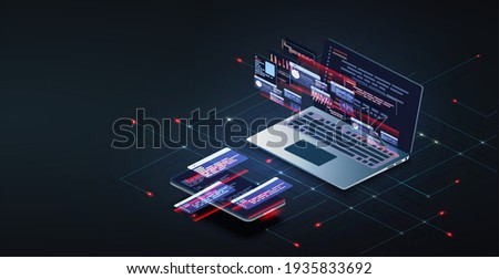 Programming and software development web page banner, program code on screen device. Software development coding process concept. Programming, testing cross platform code, app on laptop, phone