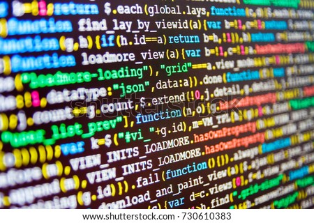 Programming code abstract screen of software developer. Displaying program code on computer. Business and AI technology represent learning process. Source code close-up. Innovative startup project.