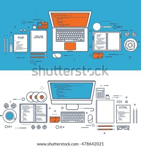 Programming,coding. Flat computing background. Code, hardware,software. Web development. Search engine optimization. Innovation technologies. Mobile app.SEO.Line art