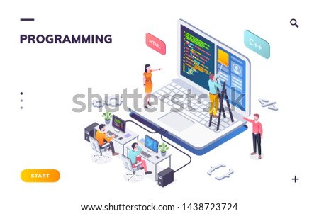 Programming office with developers and notebook. Coders or programmers writing program. Landing page for web IT courses with HTML and C . Code team engineering computer software.