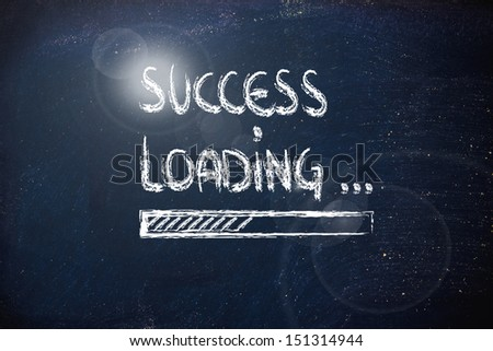 progress bar on blackboard, loading success (sparkle version)