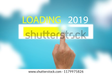 Progress bar show the loading the trend of new year 2019 on blue sky with clound  background #1179975826