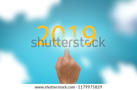 Progress bar show the loading the trend of new year 2019 on blue sky with clound  background #1179975829