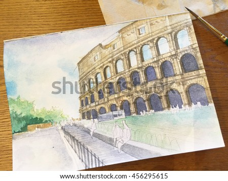 progressing of water color painting  Colosseum on rough paper.