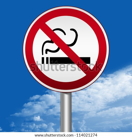 Prohibited Circle Silver Metallic and Red Metallic Border Road Sign For Smoking Area Sign Against The Blue Sky Background For Stop Smoking Campaign