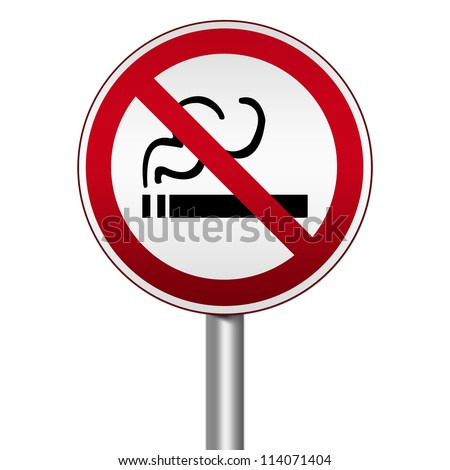 Prohibited Circle Silver Metallic and Red Metallic Border Road Sign For Smoking Area Sign Isolated on White Background For Stop Smoking Campaign