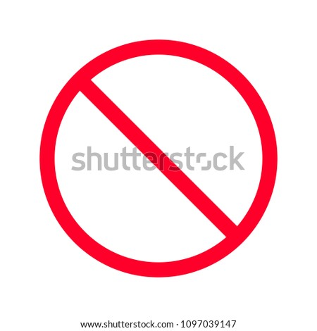prohibition sign red circle, isolated icon, no symbol #1097039147
