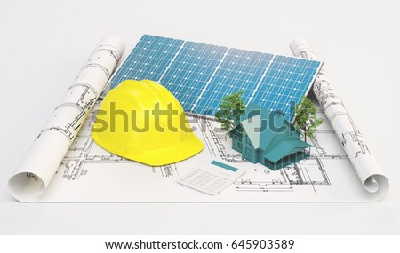 Project for ecological house with solar panels, 3d render