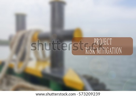 Project management conceptual word with shipbuilding activity as a background. Blurred background. #573209239