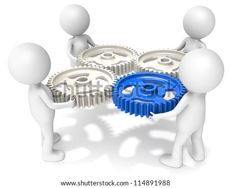 Project Management. 3D little human character X4 holding Cog Wheels. One Blue. People series.