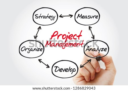 Project management mind map with marker, business concept