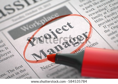 Project Manager. Newspaper with the Advertisements and Classifieds Ads for Vacancy, Circled with a Red Marker. Blurred Image with Selective focus. Job Search Concept. 3D Render.