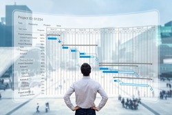 Project manager working with Gantt chart planning schedule, tracking milestones and deliverables and updating tasks progress, scheduling and management skills, program strategy