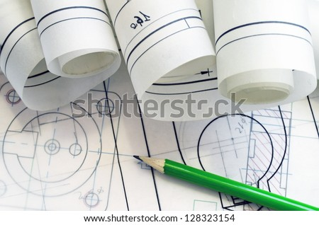 project mechanical engineer with pencil and graphic