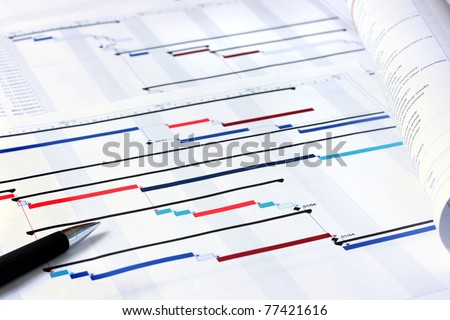 Photo of  Project plan Gantt charts with shallow depth of field
