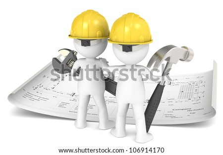 Project Planning. 3D little human character The Builder X2 planning in front of a Blueprint. People series.