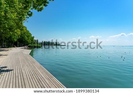 Photo of  Promenade in Balatonfüred next to lake balaton with wooden lakeside