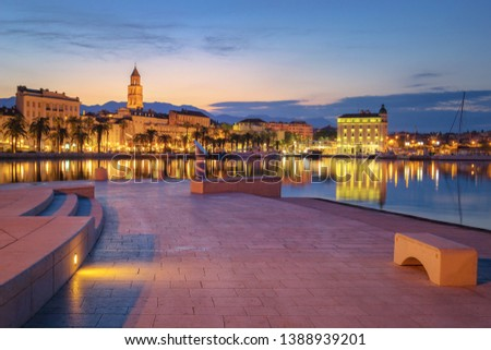Promenade of Split during Sunrise, beautiful Croatia