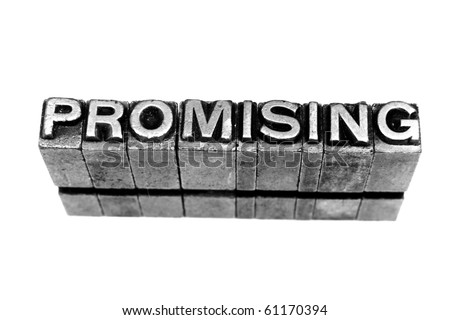 PROMISING  written in metallic letters on a white background