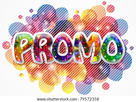 Promo background with shiny text, lights and bubbles - stock photo