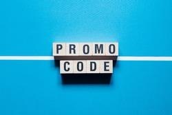 Promo code, promocode word Written In Wooden Cube
