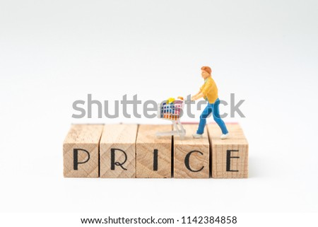Promotion and pricing for marketing commerce concept, miniature figurine trolly shopping cart with full grocery on wooden stamp building the word PRICE on white background. #1142384858