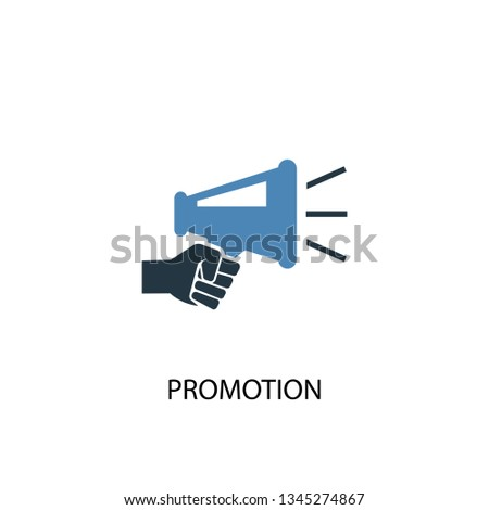 Promotion concept 2 colored icon. Simple blue element illustration. Promotion concept symbol design. Can be used for web and mobile UI/UX