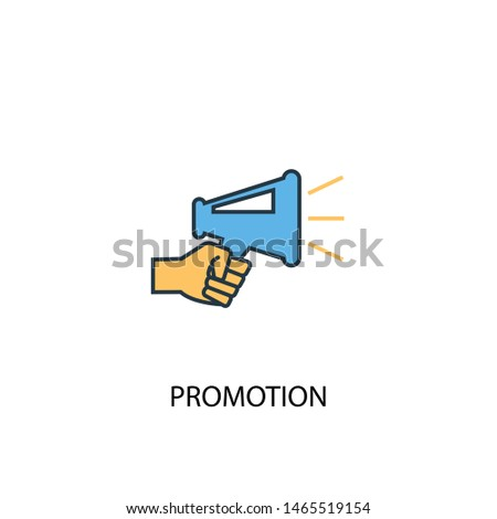Promotion concept 2 colored line icon. Simple yellow and blue element illustration. Promotion concept outline symbol design