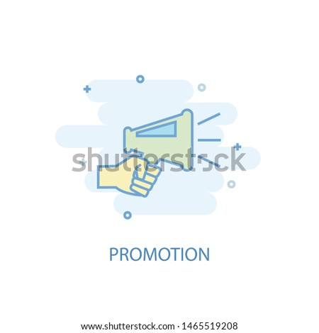 Promotion line concept. Simple line icon, colored illustration. Promotion symbol flat design. Can be used for UI/UX