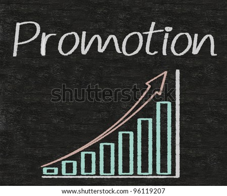 promotion written on blackboard with report chart up
